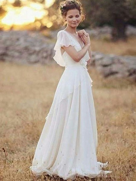 A-linje/Prinsesse Chiffong V-hals Ruched Korte ermer Gulvlengde Bryllupskjoler