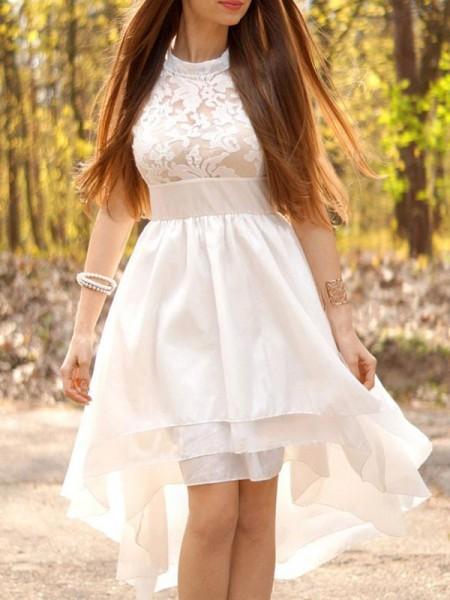 A-linje/Prinsesse Chiffong Ruched Halter Asymmetrisk Uten Ermer Bryllupskjoler