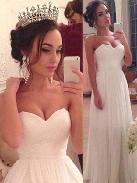 A-linje/Prinsesse Sweetheart Uten Ermer Chiffong Frynse Gulvlengde Bryllupskjoler