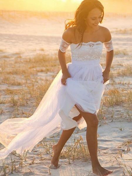 A-linje/Prinsesse Chiffong Uten Ermer Off-the-skulder Blonder Gulvlengde Bryllupskjoler