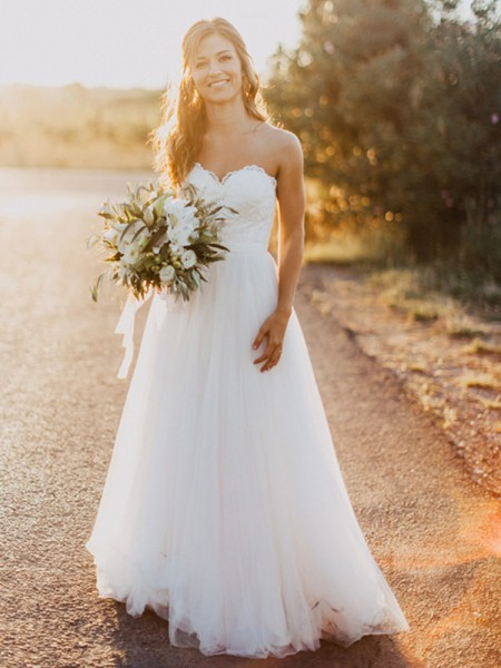 A-linje/Prinsesse Sweetheart Tyll Ruched Uten Ermer Gulvlengde Bryllupskjoler