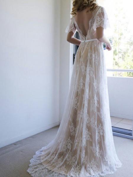 A-linje/Prinsesse Blonder Sash/Bånd/Belte V-hals Korte ermer Sweep Slep Bryllupskjoler
