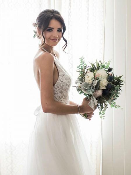 A-linje/Prinsesse Blonder Tyll Uten Ermer Halter Gulvlengde Bryllupskjoler