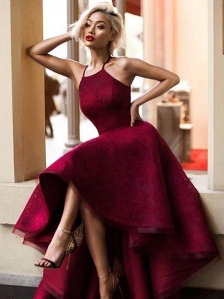 A-linje/Prinsesse Uten Ermer Jewel Asymmetrisk Frynse Blonder Kjoler