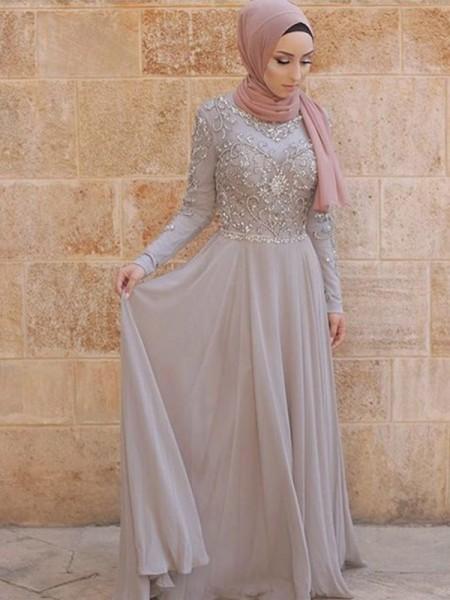 A-linje/Prinsesse Langermer Kule Sweep Slep Krystall Tyll Muslim Kjoler