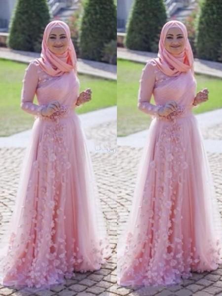A-linje/Prinsesse Langermer Kule Sweep Slep Applikasjoner Tyll Muslim Kjoler