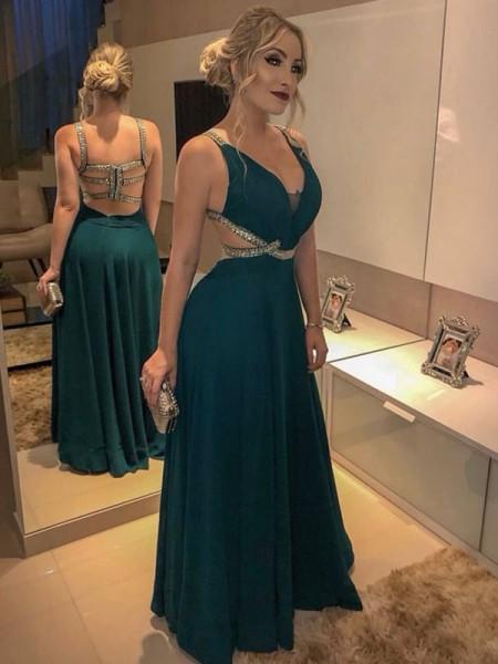 A-linje/Prinsesse Uten Ermer V-hals Gulvlengde Perlebesydd Chiffong Kjoler
