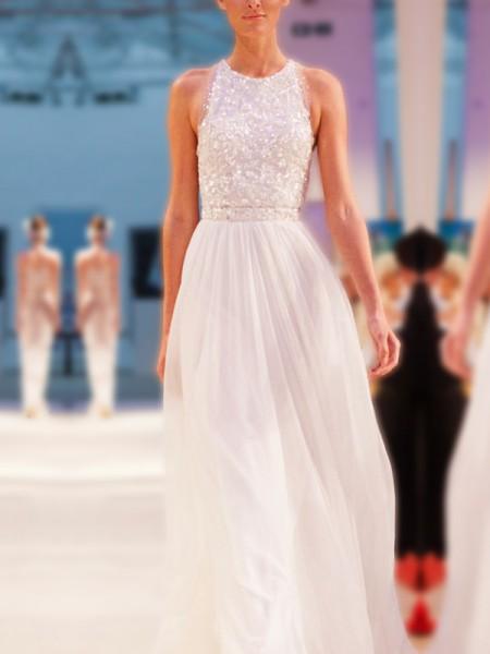 A-linje/Prinsesse Jewel Uten Ermer Gulvlengde Perlebesydd Chiffong Bryllupskjoler