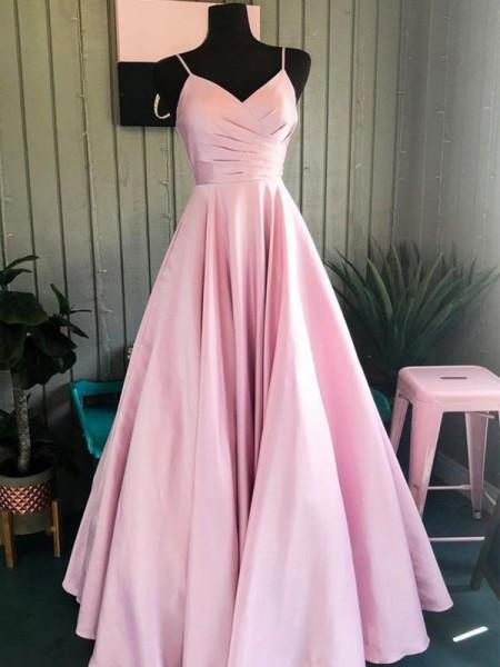 A-formet/Prinsesse Silkesateng Folder Spagettistropper Ermeløs Gulvlengde Kjoler til Brudens Mor