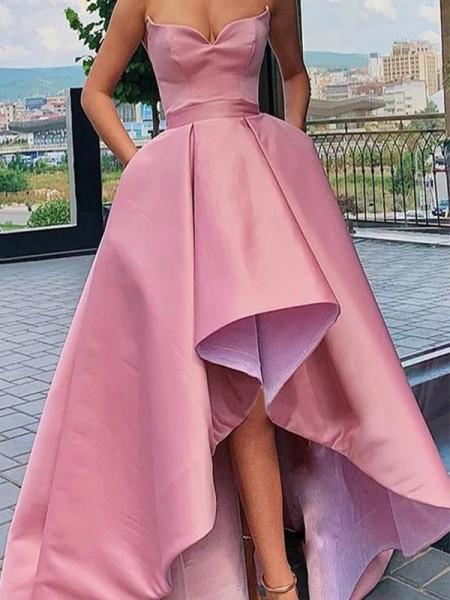 A-formet/Prinsesse Silkesateng Volanger Sweetheart Ermeløs Asymmetrisk Kjoler til Brudens Mor