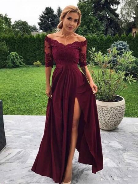 A-formet/Prinsesse Silkesateng Applikasjoner Ermeløs Halvlang Gulvlengde Kjoler til Brudens Mor