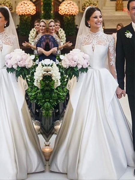 A-formet/Prinsesse Blonder Silkesateng Høy Hals Lange ermer Gulvlengde Brudekjoler