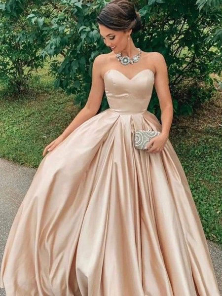 A-Line/Princess Floor-Length Sweetheart Sleeveless Satin Ruffles Dresses