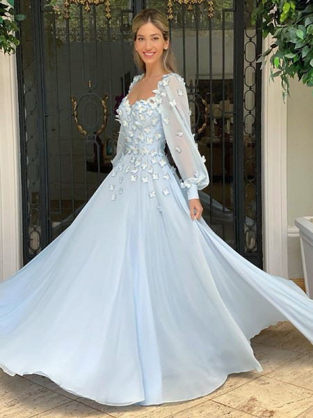 A-Line/Princess Sweetheart Chiffon Long Sleeves Applique Floor-Length Dresses