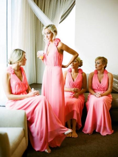 A-Linje/Prinsesse V-hals Ermeløs Gulvlengde Håndlaget blomst Chiffong Brudepikekjoler