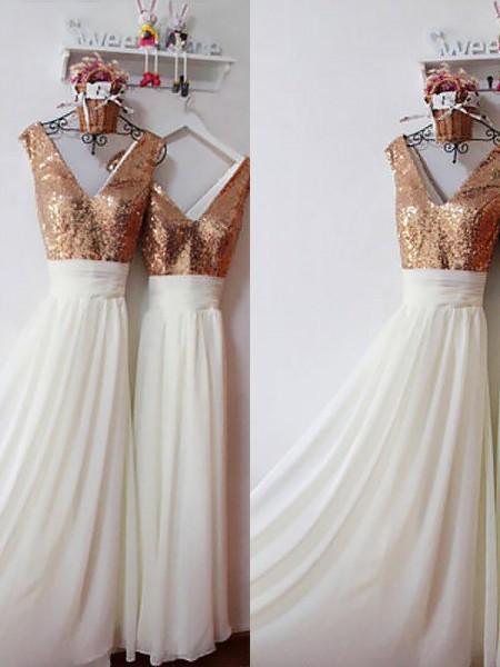 A-Linje/Prinsesse Chiffong V-hals Ermeløs Gulvlengde Paljetter Brudepikekjoler