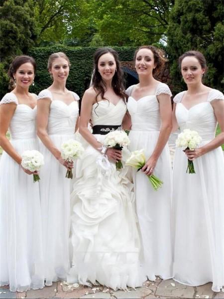 A-Linje/Prinsesse Sweetheart Ermeløs Gulvlengde Chiffong Brudepikekjoler
