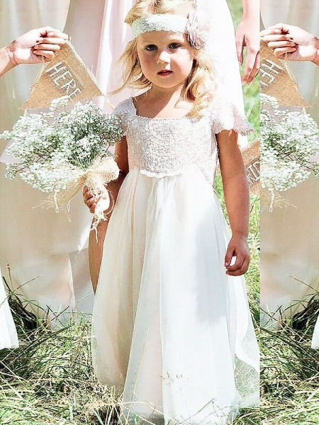 A-Linje/Prinsesse Firkantet hals Kort erme Blonder Gulvlengde Chiffong Blomsterpikekjoler
