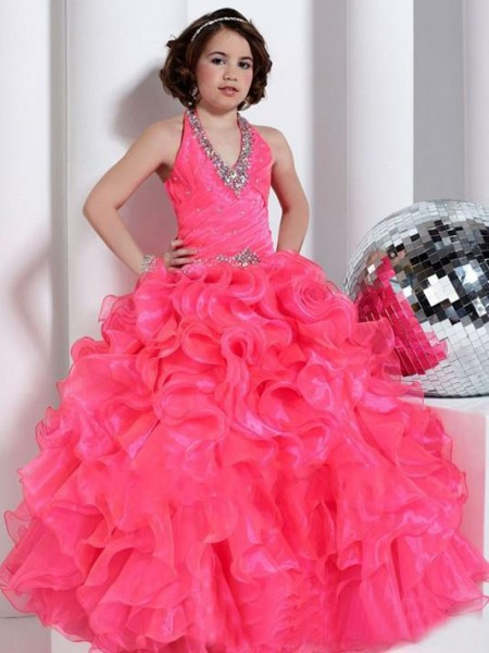 Ballkjole Grime Ermeløs Perlebesydd Lange Organza Blomst Girl Kjole