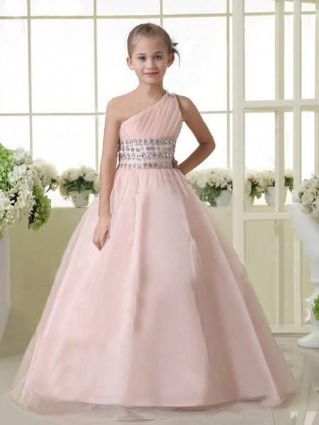 A-Linje/Prinsesse En Skuldret Ermeløs Perlebesydd Lange Organza Blomst Girl Kjole
