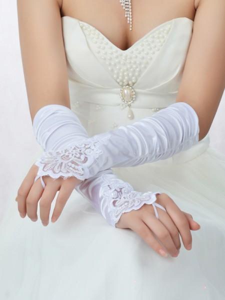 Romantic Blonder Sateng Perlebesydd Bryllupshansker