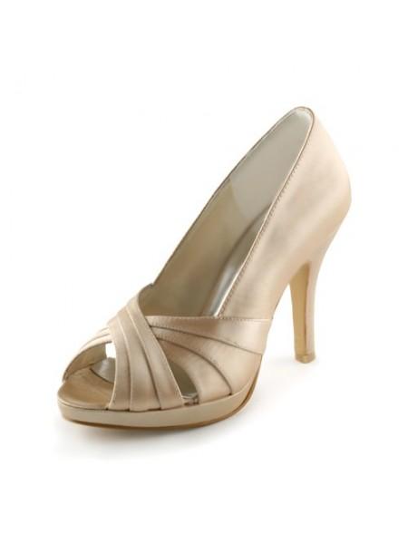 Women's Sateng Stiletto Heel Peep Toe Platform Sandalerer Champagne Brudesko
