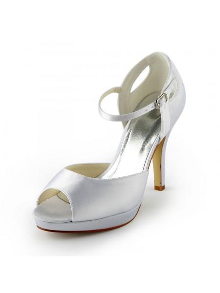 Women's Sateng Stiletto Heel Peep Toe Platform Sandalerer Hvit Brudesko With Buckle