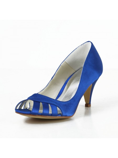 Women's Sateng Cone Heel Peep Toe Pumps Høyeheler With Hollow-out