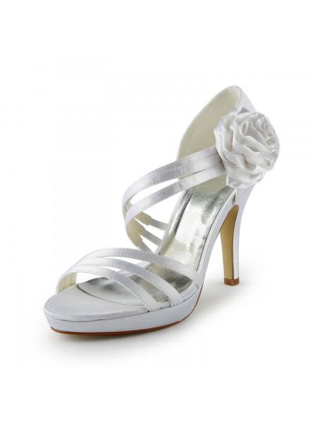 Women's Sateng Stiletto Heel Platform Sandalerer Hvit Brudesko With Blomst