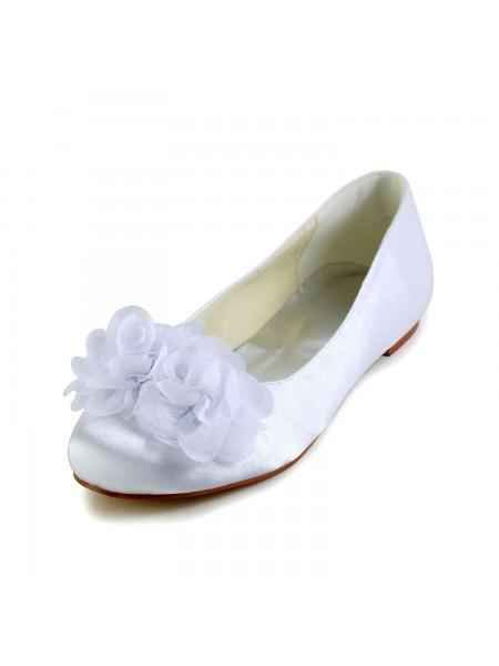 Women's Sateng Flate Heel Closed Toe Flates Hvit Brudesko With Sateng Blomst