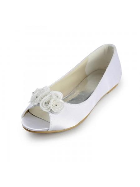 Women's Sateng Flate Heel Peep Toe Sandalerer Hvit Brudesko With Sateng Blomst