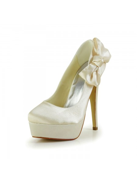 Women's Sateng Stiletto Heel Closed Toe Platform Champagne Brudesko With Sløyfe