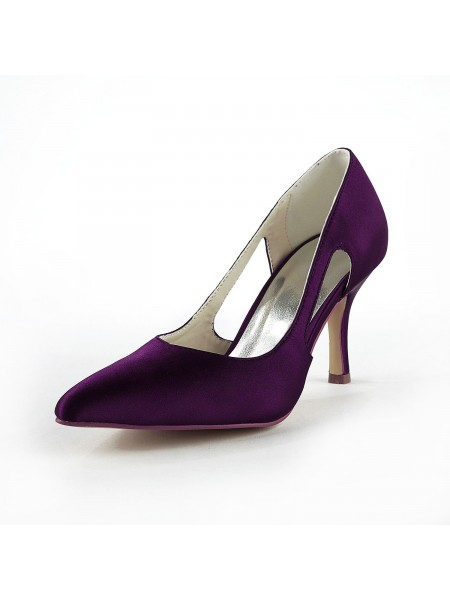 Women's Sateng Stiletto Heel Closed Toe Pumps Grape Brudesko