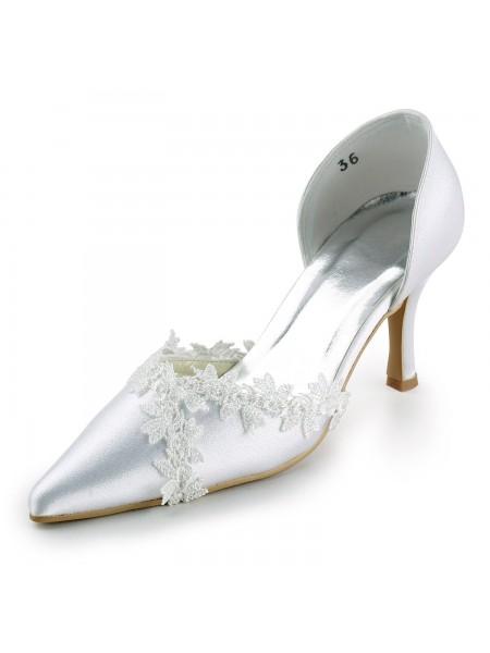 Women's Sateng Stiletto Heel Closed Toe Pumps Hvit Brudesko With Blonder