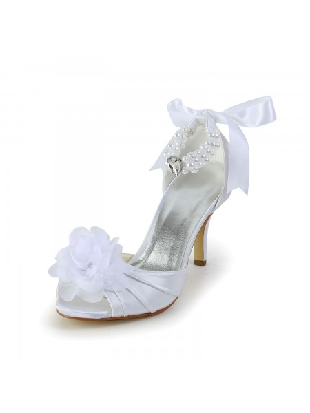 Women's Sateng Stiletto Heel Peep Toe Dansesko With Imitation Perler