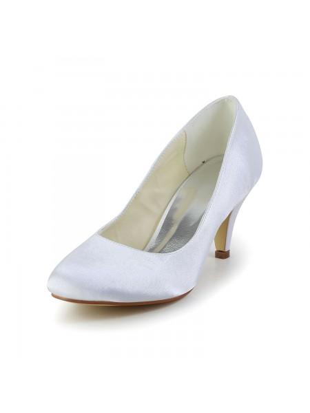 Women's Simples Sateng Cone Heel Closed Toe Hvit Brudesko