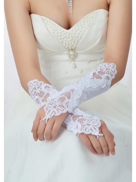 Stunning Perlebesydd Blonder Sateng Bryllupshansker