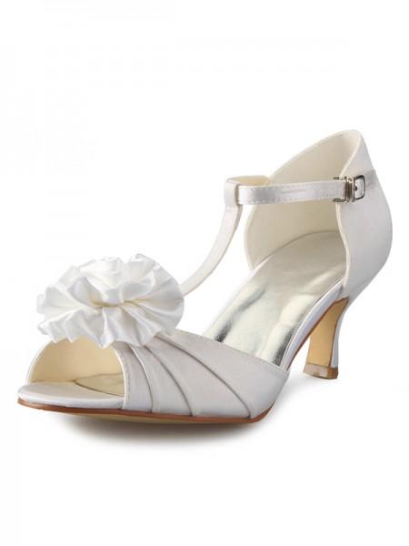 Women's Sateng Stiletto Heel T-Strap Peep Toe With Blomst Dansesko