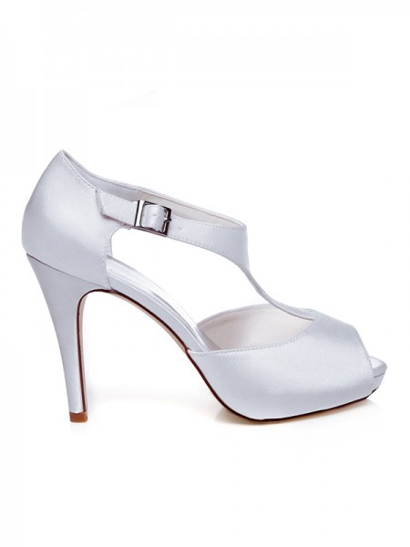 Women's Sateng Peep Toe Buckle Stiletto Heel Brudesko