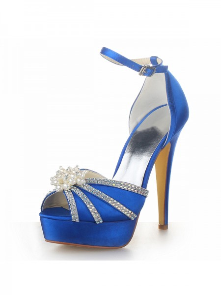 Women's Sateng Stiletto Heel Platform Peep Toe With Perler Royal Blå Brudesko