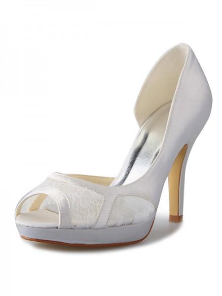 Women's Stiletto Heel Sateng Platform Peep Toe With Blonder Hvit Brudesko