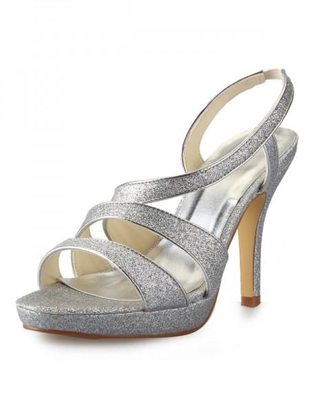 Women's Cone Heel Platform Sateng Peep Toe With Sparkling Glitter Sandalerer Sko