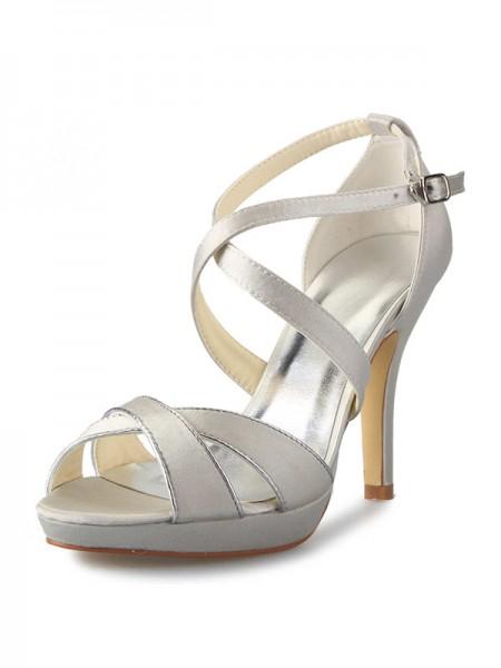 Women's Sateng Stiletto Heel Platform Peep Toe With Buckle Dansesko