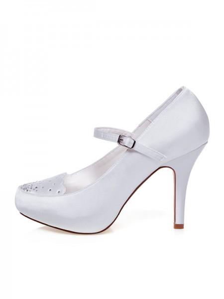 Women's Sateng Closed Toe Buckle Stiletto Heel Brudesko