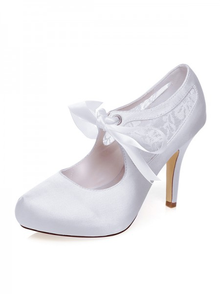 Women's Sateng Closed Toe Silk Stiletto Heel Brudesko