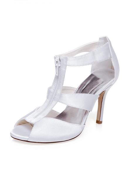 Women's Sateng Peep Toe Zipper Stiletto Heel Brudesko