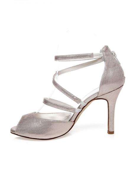 Women's PU Peep Toe Zipper Stiletto Heel Brudesko