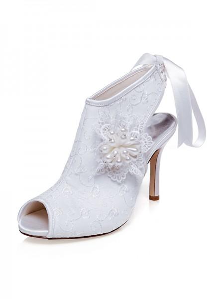 Women's Sateng Peep Toe Blomst Stiletto Heel Brudesko