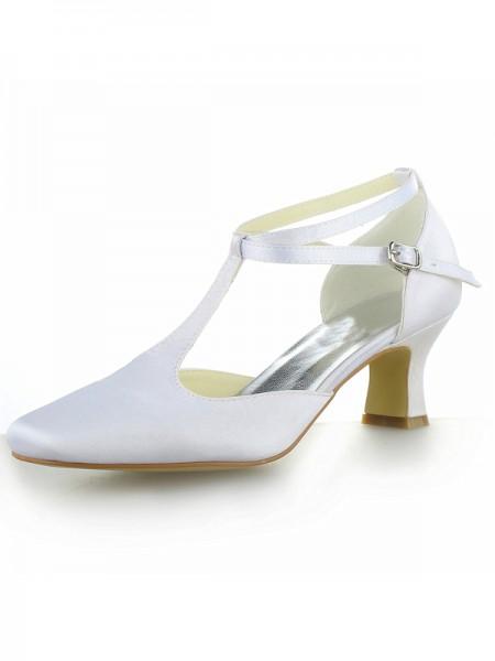 Women's Hvit Sateng Closed Toe Chunky Heel With Buckle Høyeheler