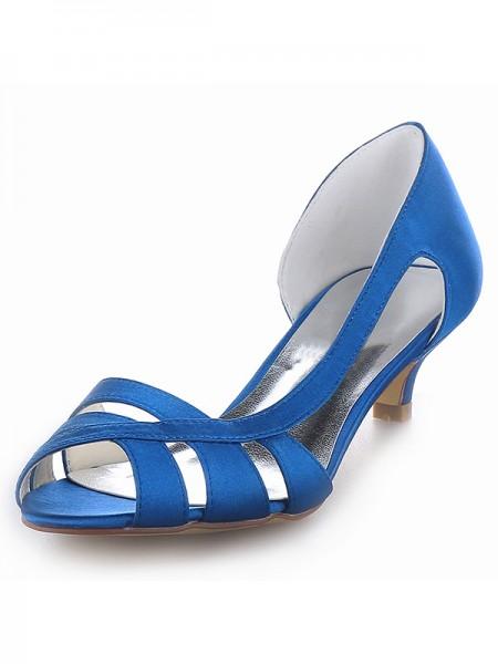 Women's Sateng Peep Toe Kitten Heel Sandalerer Sko